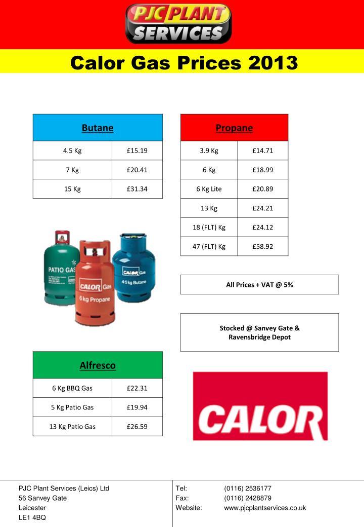 Calor Gas Prices 2013