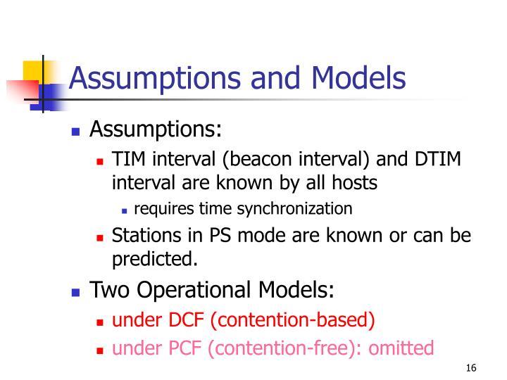 Assumptions and Models