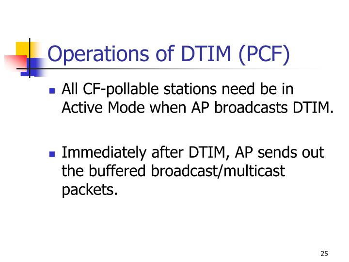 Operations of DTIM (PCF)