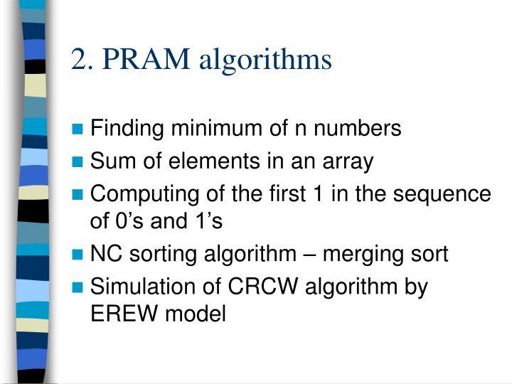 2. PRAM algorithms