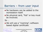 barriers from user input