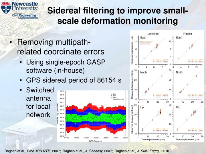 Sidereal filtering to improve small-scale deformation monitoring