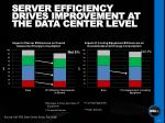 server efficiency drives improvement at the data center level