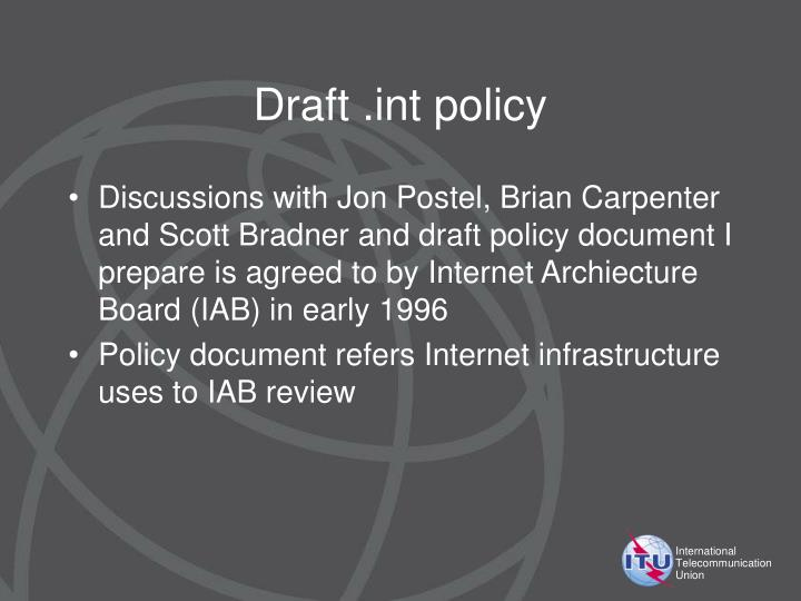 Draft .int policy