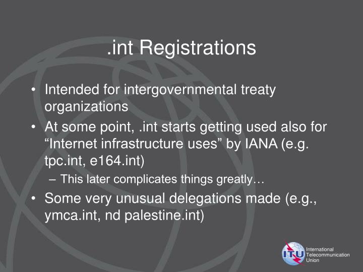 .int Registrations