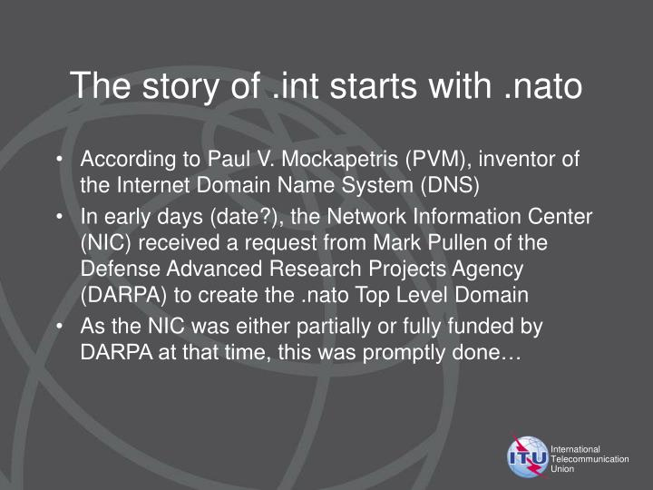 The story of int starts with nato