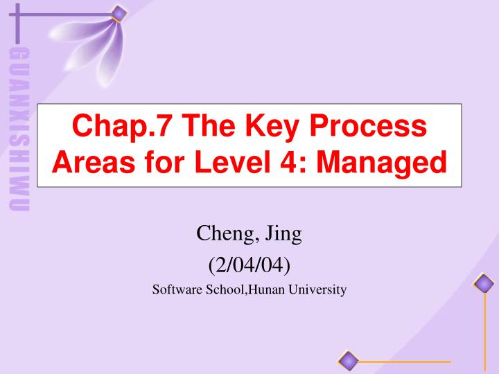 chap 7 the key process areas for level 4 managed n.