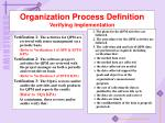 organization process definition verifying implementation