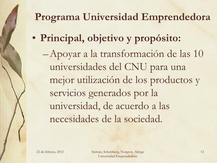 Programa Universidad Emprendedora
