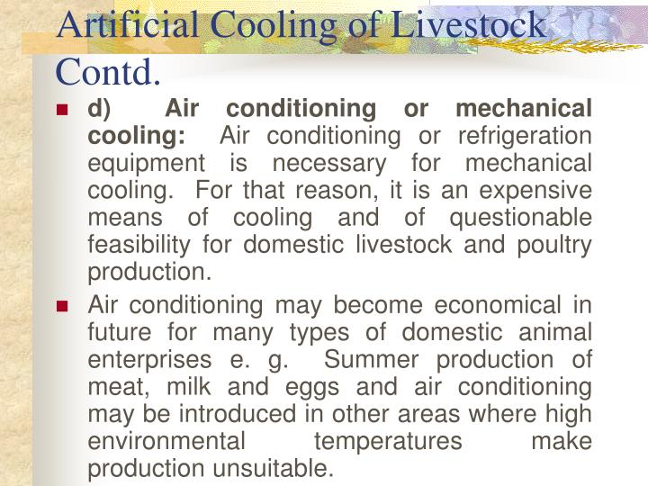 Artificial Cooling of Livestock Contd.