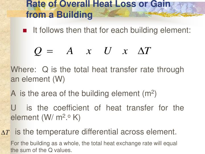 Rate of Overall Heat Loss or Gain