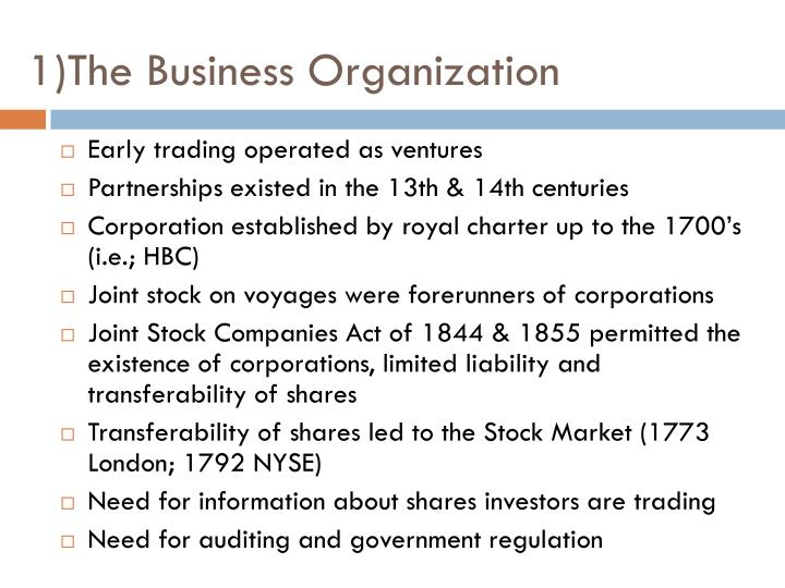 1)The Business Organization