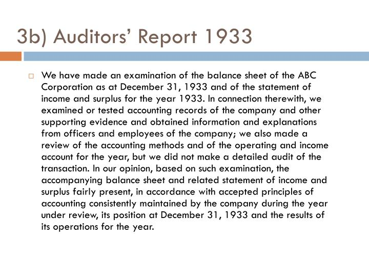 3b) Auditors' Report 1933