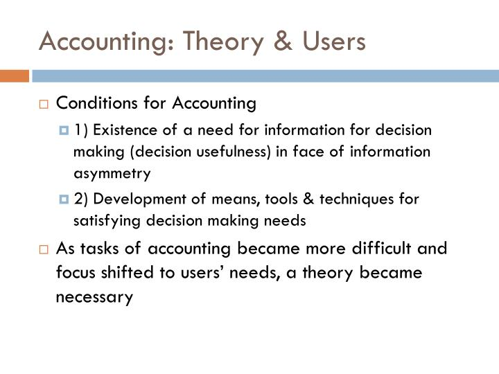 Accounting: Theory & Users