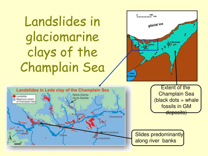 Landslides in glaciomarine clays of the Champlain Sea