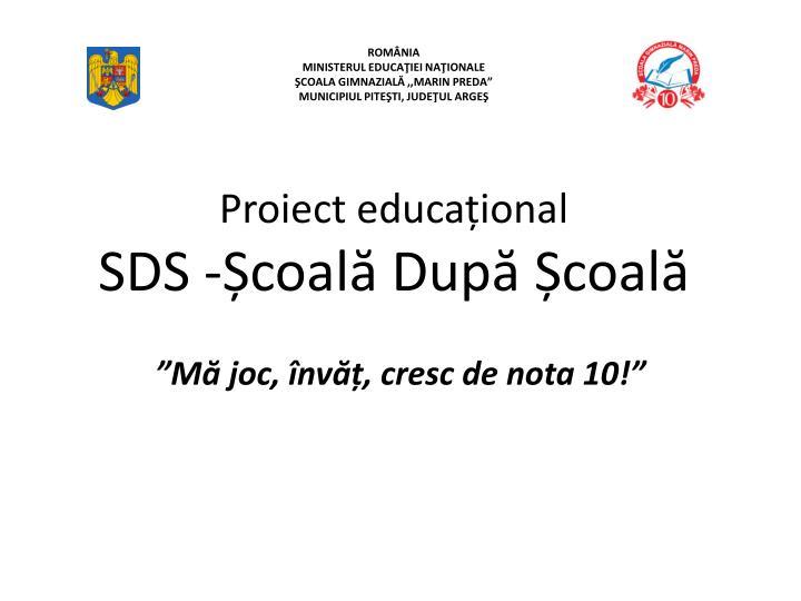 proiect educa ional sds coal dup coal n.