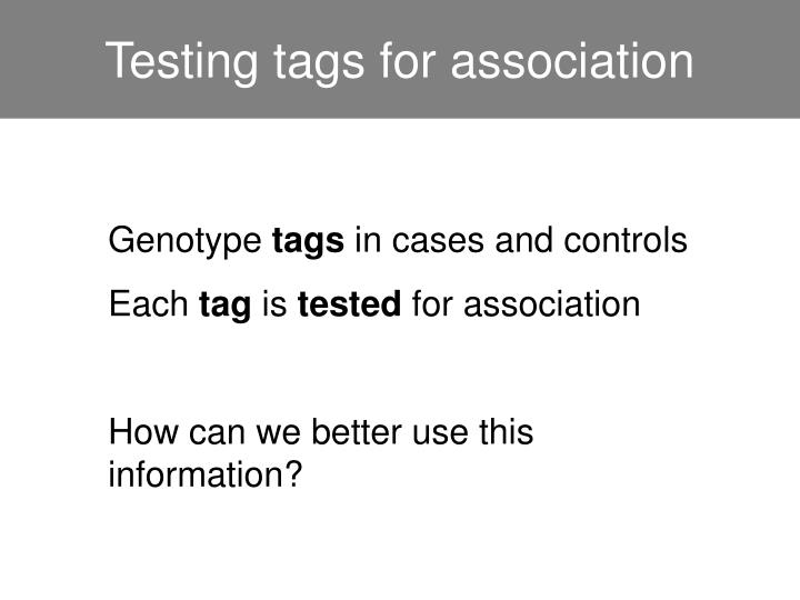 Testing tags for association