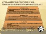 levels and existing structures of self organisation amongst football fans in europe