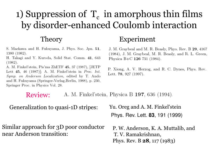 1 suppression of t c in amorphous thin films by disorder enhanced coulomb interaction