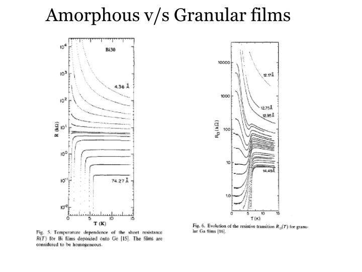Amorphous v s granular films