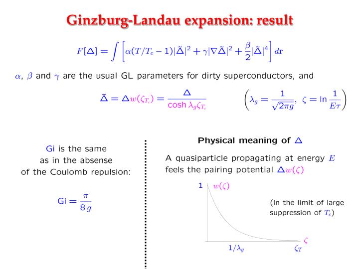 Ginzburg-Landau expansion: result
