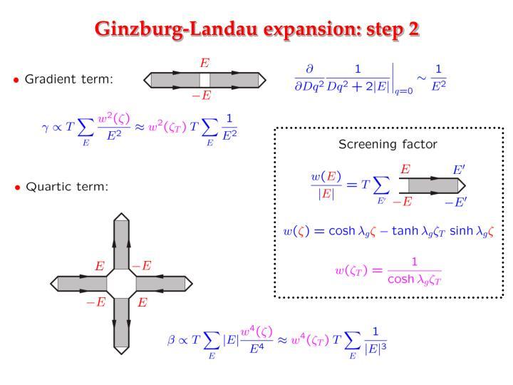 Ginzburg-Landau expansion: step 2