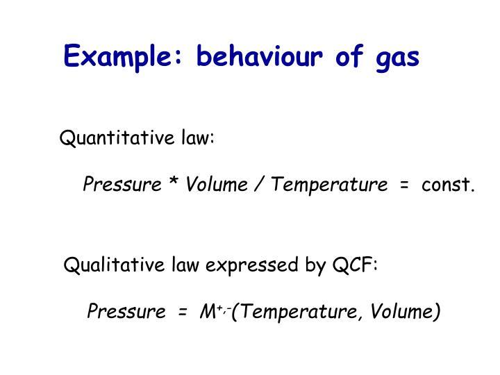Example: behaviour of gas