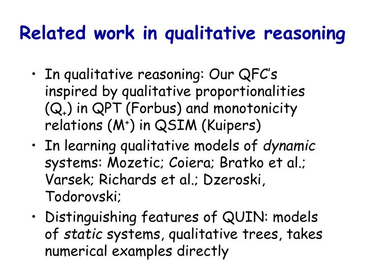 Related work in qualitative reasoning