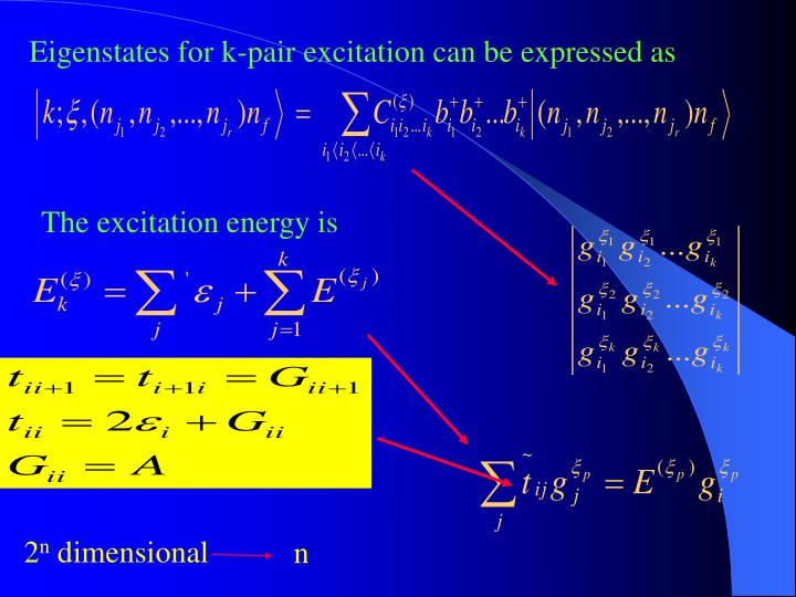 Eigenstates for k-pair excitation can be expressed as