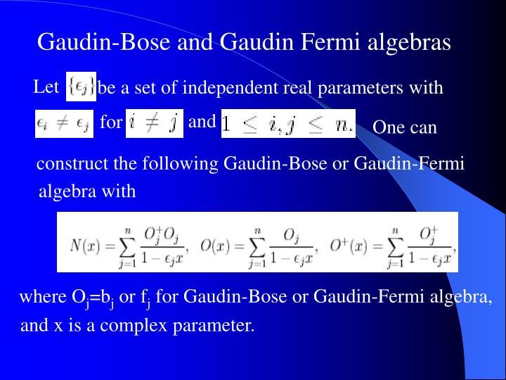 Gaudin-Bose and Gaudin Fermi algebras