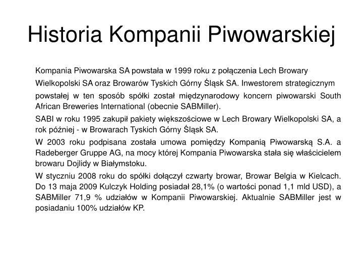 Historia Kompanii Piwowarskiej