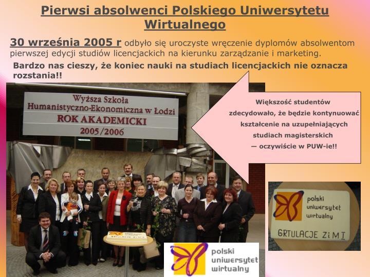 Pierwsi absolwenci Polskiego Uniwersytetu Wirtualnego