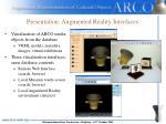 presentation augmented reality interfaces