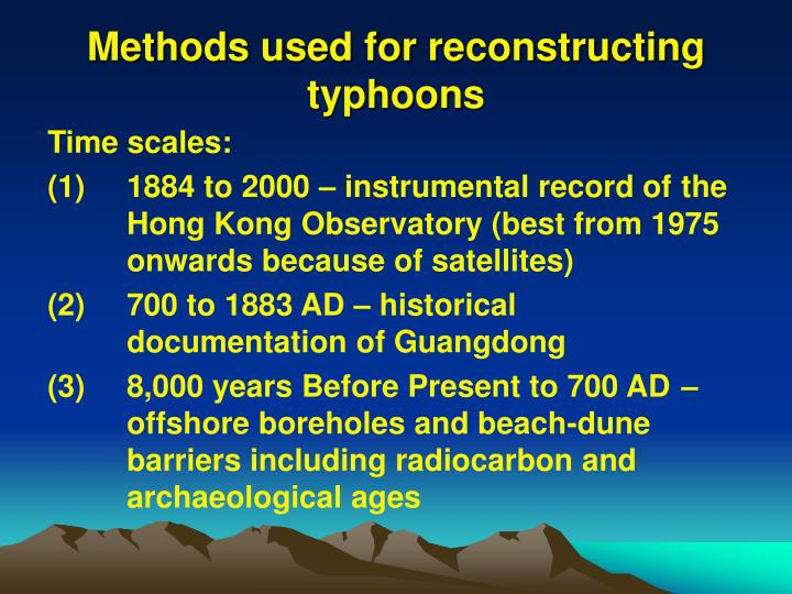 Methods used for reconstructing