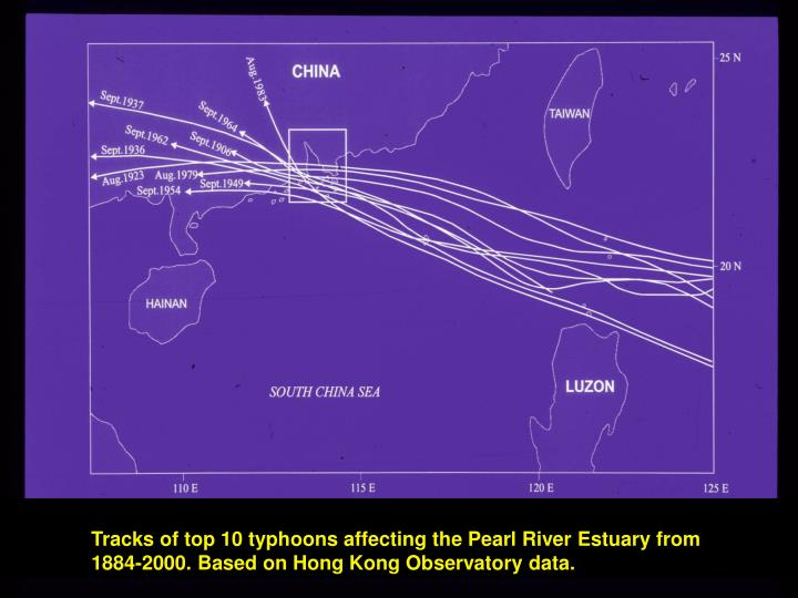 Tracks of top 10 typhoons affecting the Pearl River Estuary from
