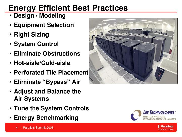 Energy Efficient Best Practices