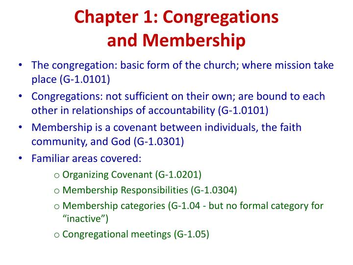 Chapter 1: Congregations