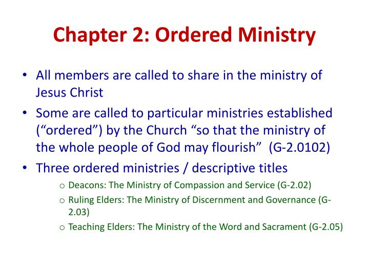 Chapter 2: Ordered Ministry