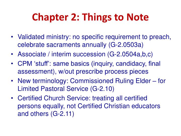 Chapter 2: Things to Note