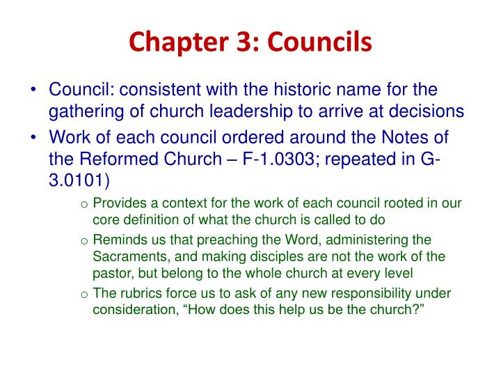 Chapter 3: Councils