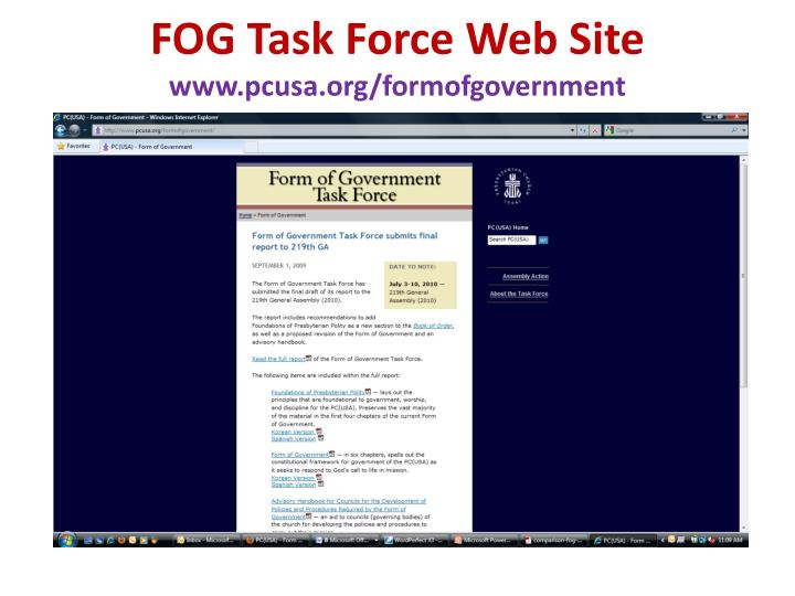 Fog task force web site www pcusa org formofgovernment