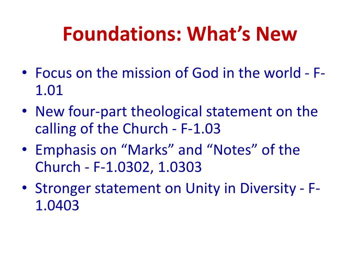 Foundations: What's New