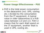 power usage effectiveness pue