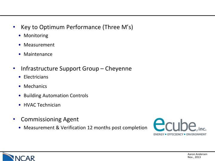 Key to Optimum Performance (Three M