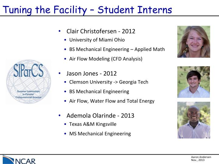 Tuning the Facility – Student Interns