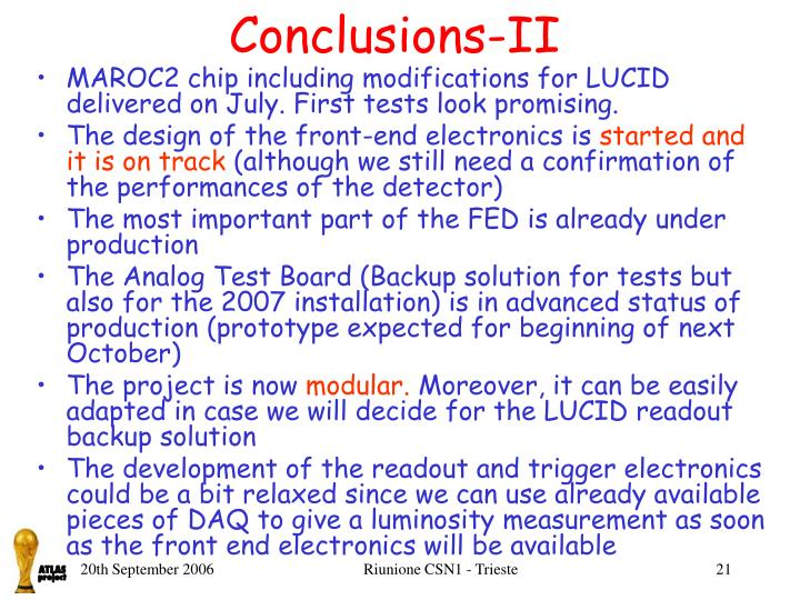 Conclusions-II
