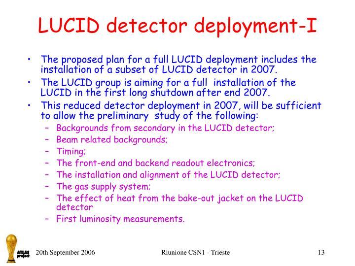 LUCID detector deployment-I