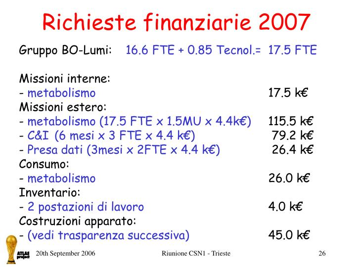 Richieste finanziarie 2007