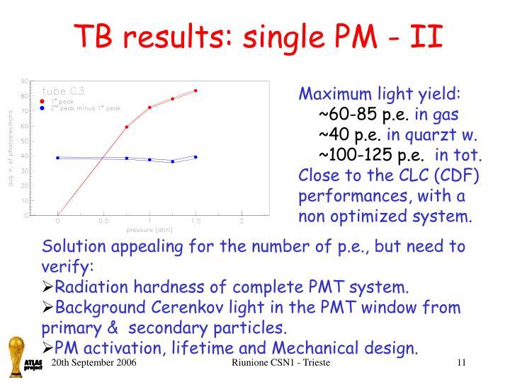 TB results: single PM - II