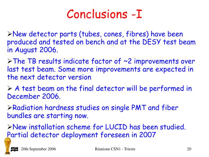 Conclusions -I